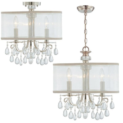 Crystorama Polished Chrome Chandelier Draped with Oyster Crystal Accented with a Silk Shade 3 Lights - Polished Chrome - 5623-CH - PeazzLighting