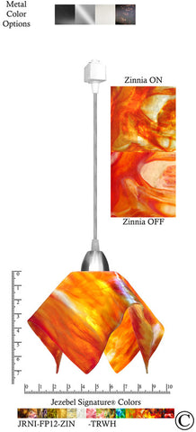 Jezebel Signature® Flame Track Lighting Pendant Small. Hardware: Nickel. Glass: Zinnia - PeazzLighting