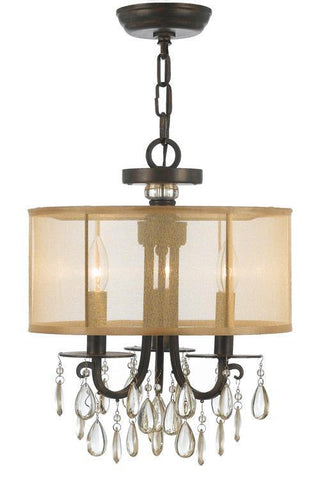 Crystorama 5623-EB Hampton 3 Light Bronze Etruscan Crystal Drum Shade Chandelier - PeazzLighting