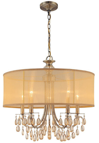 Crystorama Antique Brass Chandelier Accented with Etruscan Smooth Oyster crystals and Gold Silk Shimmer Shade 5 Lights - Antique Brass - 5625-AB - PeazzLighting