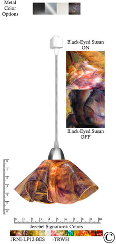 Jezebel Signature® Lily Track Lighting Pendant Small. Hardware: Nickel. Glass: Black-Eyed Susan - PeazzLighting