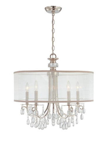 Crystorama Polished Chrome Chandelier Draped with Oyster Crystal Accented with a Silk Shade 5 Lights - Polished Chrome - 5625-CH - PeazzLighting