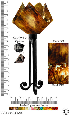 Jezebel Signature® Torch Light. Hardware: Black. Glass: Earth, Flame Style - PeazzLighting