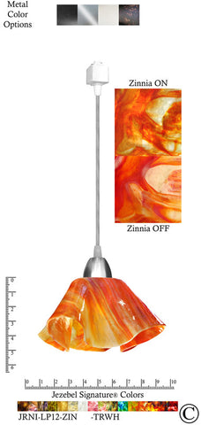 Jezebel Signature® Lily Track Lighting Pendant Small. Hardware: Nickel. Glass: Zinnia - PeazzLighting