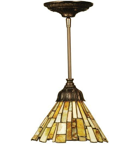 "Meyda Tiffany 103045 8""W Jadestone Delta Mini Pendant - PeazzLighting"