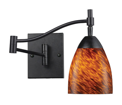 ELK Lighting Celina Celina 1-Light Swingarm Sconce In Dark Rust And Espresso Glass - 10151/1DR-ES - PeazzLighting