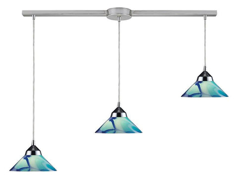 ELK Lighting Refraction 3 Light Pendant In Polished Chrome And Carribean Glass - 1477/3L-CAR - Peazz.com