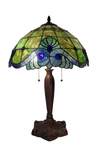 Warehouse of Tiffany NG161229A-A877 Tiffany Style Green Geometric Symmetry Table Lamp - PeazzLighting