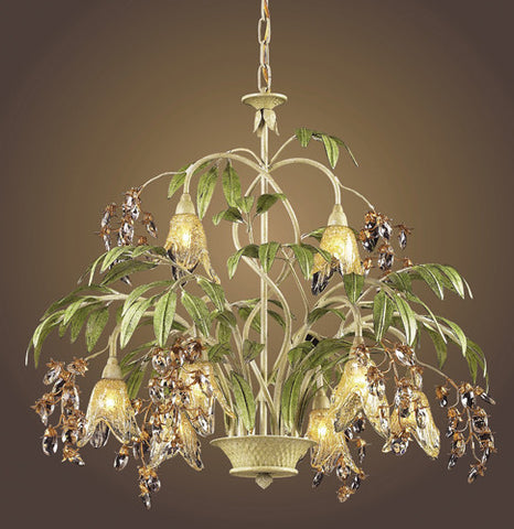 ELK Lighting Lighting 86054 Eight Light Chandelier In Seashell And Amber Glass - PeazzLighting