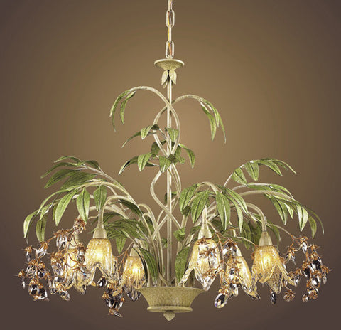 ELK Lighting Lighting 86053 Six Light Chandelier In Seashell And Amber Glass - PeazzLighting