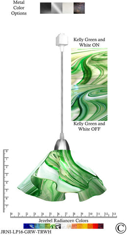 Jezebel Radiance® Lily Track Lighting Pendant Large. Hardware: Nickel. Glass: Kelly Green and White - PeazzLighting