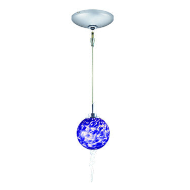 Jesco Lighting KIT-QAP221-BU-A Tori Pendant-Satin Chrome finish-Spherical frit glass with crystalline spiral-Monopoint Round Canopy - PeazzLighting