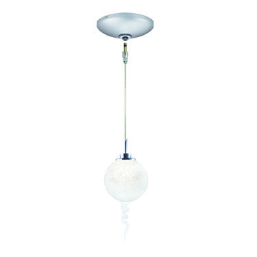 Jesco Lighting KIT-QAP221-WH-A Tori Pendant-Satin Chrome finish-Spherical frit glass with crystalline spiral-Monopoint Round Canopy - PeazzLighting