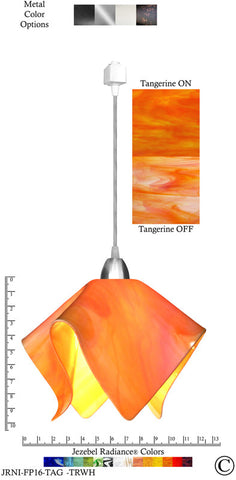 Jezebel Radiance® Flame Track Lighting Pendant Large. Hardware: Nickel. Glass: Tangerine - PeazzLighting