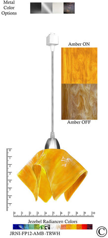 Jezebel Radiance® Flame Track Lighting Pendant Small. Hardware: Nickel. Glass: Amber - PeazzLighting