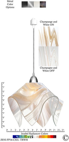 Jezebel Radiance® Flame Track Lighting Pendant Large. Hardware: Nickel. Glass: Champagne and White - PeazzLighting