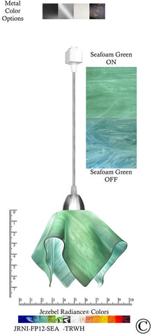 Jezebel Radiance® Flame Track Lighting Pendant Small. Hardware: Nickel. Glass: Seafoam Green - PeazzLighting