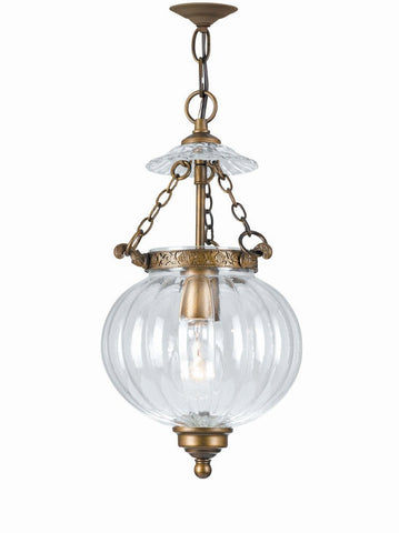 Crystorama 5781-AB 1-Lights Ornate Hanging Fixture With Mellon Jars - Antique Brass - PeazzLighting