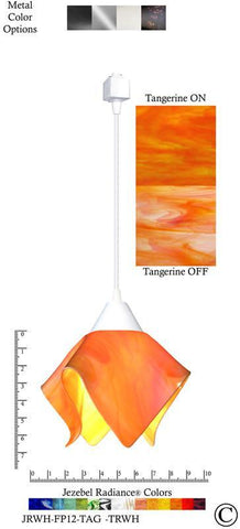 Jezebel Radiance® Flame Track Lighting Pendant Small. Hardware: White. Glass: Tangerine - PeazzLighting