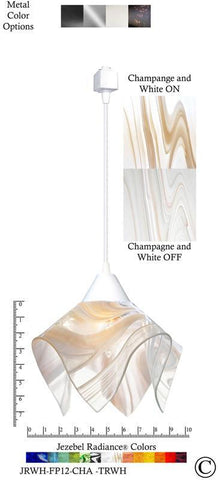 Jezebel Radiance® Flame Track Lighting Pendant Small. Hardware: White. Glass: Champagne and White - PeazzLighting