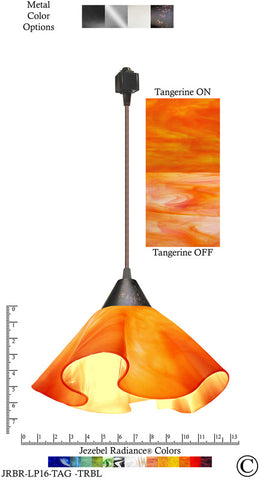 Jezebel Radiance® Lily Track Lighting Pendant Large. Hardware: Brown. Glass: Tangerine - PeazzLighting