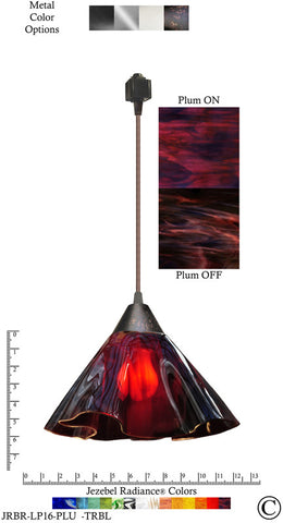 Jezebel Radiance® Lily Track Lighting Pendant Large. Hardware: Brown. Glass: Plum - PeazzLighting