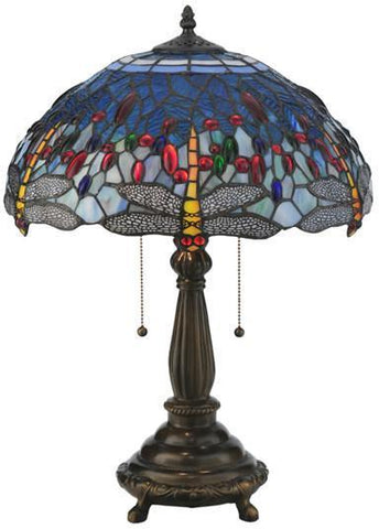 "Meyda Tiffany 119650 22""H Tiffany Hanginghead Dragonfly Table Lamp - PeazzLighting"
