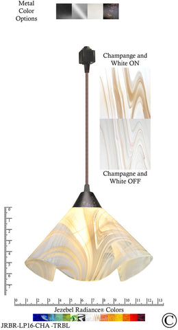 Jezebel Radiance® Lily Track Lighting Pendant Large. Hardware: Brown. Glass: Champagne and White - PeazzLighting