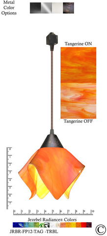 Jezebel Radiance® Flame Track Lighting Pendant Small. Hardware: Brown. Glass: Tangerine - PeazzLighting
