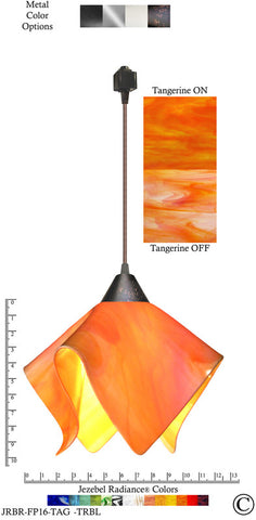 Jezebel Radiance® Flame Track Lighting Pendant Large. Hardware: Brown. Glass: Tangerine - PeazzLighting
