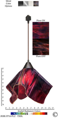 Jezebel Radiance® Flame Track Lighting Pendant Large. Hardware: Brown. Glass: Plum - PeazzLighting