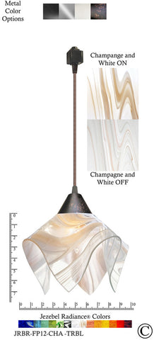 Jezebel Radiance® Flame Track Lighting Pendant Small. Hardware: Brown. Glass: Champagne and White - PeazzLighting