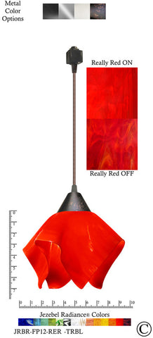 Jezebel Radiance® Flame Track Lighting Pendant Small. Hardware: Brown. Glass: Really Red - PeazzLighting