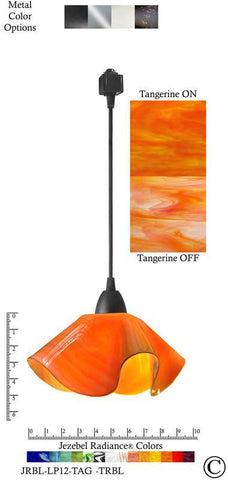 Jezebel Radiance® Lily Track Lighting Pendant Small. Hardware: Black. Glass: Tangerine - PeazzLighting