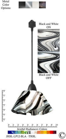 Jezebel Radiance® Lily Track Lighting Pendant Small. Hardware: Black. Glass: Black and White - PeazzLighting