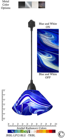 Jezebel Radiance® Lily Track Lighting Pendant Small. Hardware: Black. Glass: Blue and White - PeazzLighting