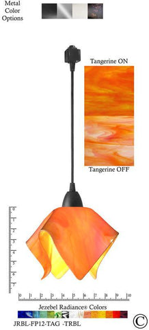 Jezebel Radiance® Flame Track Lighting Pendant Small. Hardware: Black. Glass: Tangerine - PeazzLighting