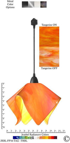Jezebel Radiance® Flame Track Lighting Pendant Large. Hardware: Black. Glass: Tangerine - PeazzLighting