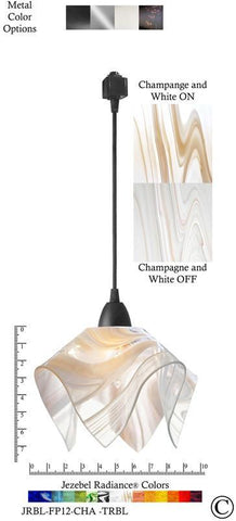 Jezebel Radiance® Flame Track Lighting Pendant Small. Hardware: Black. Glass: Champagne and White - PeazzLighting
