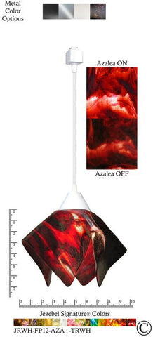Jezebel Signature® Flame Track Lighting Pendant Small. Hardware: White. Glass: Azalea - PeazzLighting