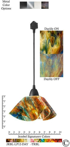 Jezebel Signature® Lily Track Lighting Pendant Small. Hardware: Black. Glass: Daylily - PeazzLighting