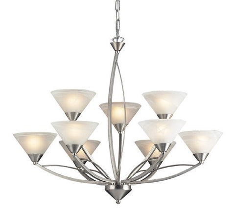 ELK Lighting Lighting 7638-6+3 Nine Light Chandelier In Satin Nickel And Marblized White Glass - PeazzLighting