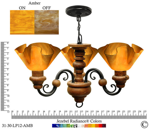 Jezebel Radiance® Floral Vineyard Chandelier. Glass: Amber - PeazzLighting