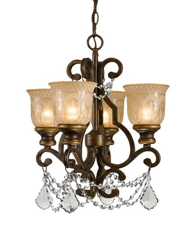 Crystorama Clear Hand cut Crystal Draped on a Wrought Iron Chandelier Handpainted with a Amber Glass Pattern 4 Lights - Bronze Umber - 7504-BU-CL-MWP - PeazzLighting