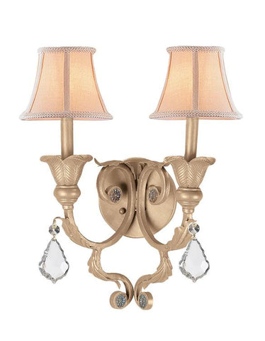 Crystorama 6602-CM-CL-MWP Winslow 2 Light Optical Crystal Champagne Sconce II - PeazzLighting