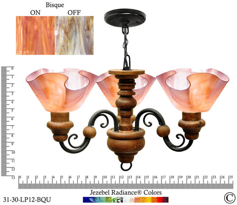 Jezebel Radiance® Floral Vineyard Chandelier. Glass: Bisque - PeazzLighting