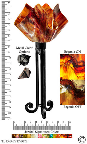 Jezebel Signature® Torch Light. Hardware: Black. Glass: Begonia, Flame Style - PeazzLighting