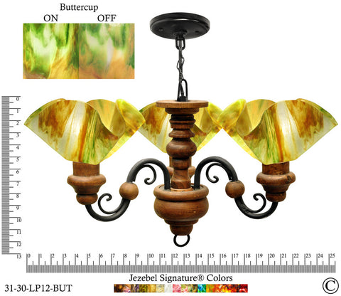 Jezebel Signature® Floral Vineyard Chandelier. Glass: Buttercup - PeazzLighting