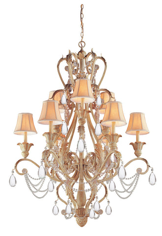 Crystorama 24% Lead Crystal Wrought Iron Handpainted Chandelier 9 Lights - Champagne - 6709-CM - PeazzLighting
