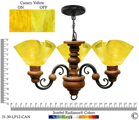 Jezebel Radiance® Floral Vineyard Chandelier. Glass: Canary Yellow - PeazzLighting